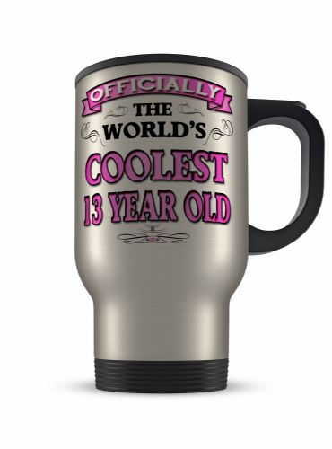 14oz Officially The Worlds Coolest 13-100 Novelty Gift Aluminium Travel Mug - Pink